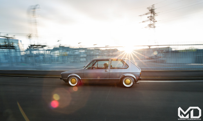 Grey Mk1 Golf OZ turbos Rolling